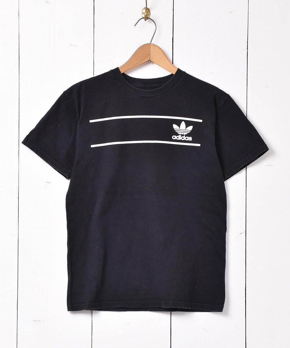 古着 「adidas」トレフォイル 両面プリント Tシャツ ブラック 古着 ネット 通販 古着屋グレープフルーツムーン