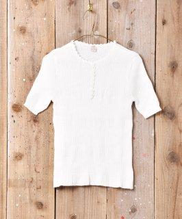 古着ショートスリーブリブセーター ホワイト 古着のネット通販 古着屋グレープフルーツムーン
