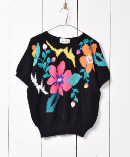 古着花柄 ショートスリーブ ニットセーター ブラック 古着のネット通販 古着屋グレープフルーツムーン