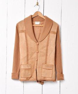 古着スウェード切り替え ニットジャケット キャメル 古着のネット通販 古着屋グレープフルーツムーン