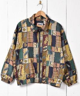 古着パッチワーク柄 シルクジャケット 古着のネット通販 古着屋グレープフルーツムーン