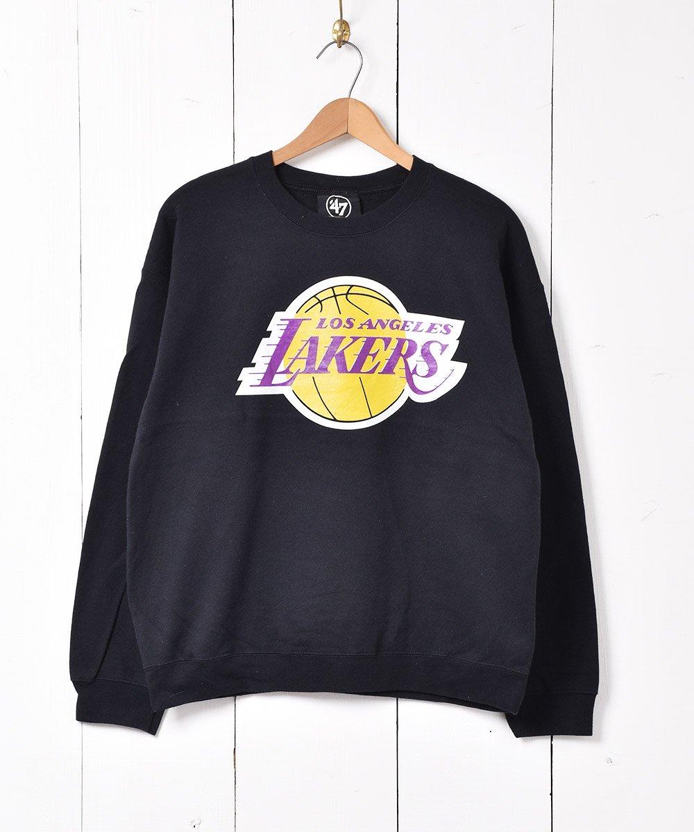 古着 NBA レイカーズ プリントスウェットシャツ ブラック 古着 ネット 通販 古着屋グレープフルーツムーン