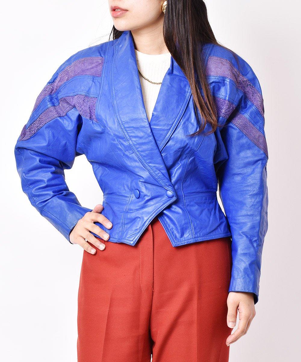 古着 ショールカラー 切り替えデザイン ダブル ショートレザージャケット 古着 ネット 通販 古着屋グレープフルーツムーン
