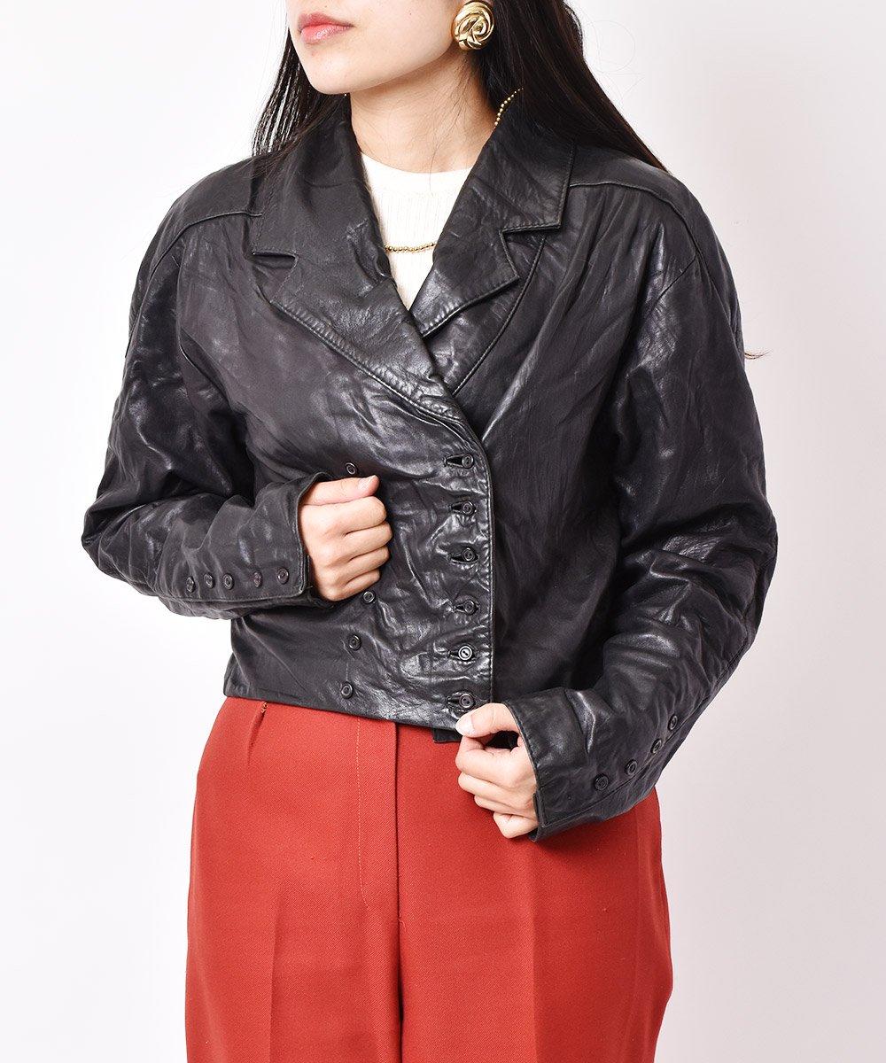 古着 レザー ダブルショートジャケット ブラック 古着 ネット 通販 古着屋グレープフルーツムーン