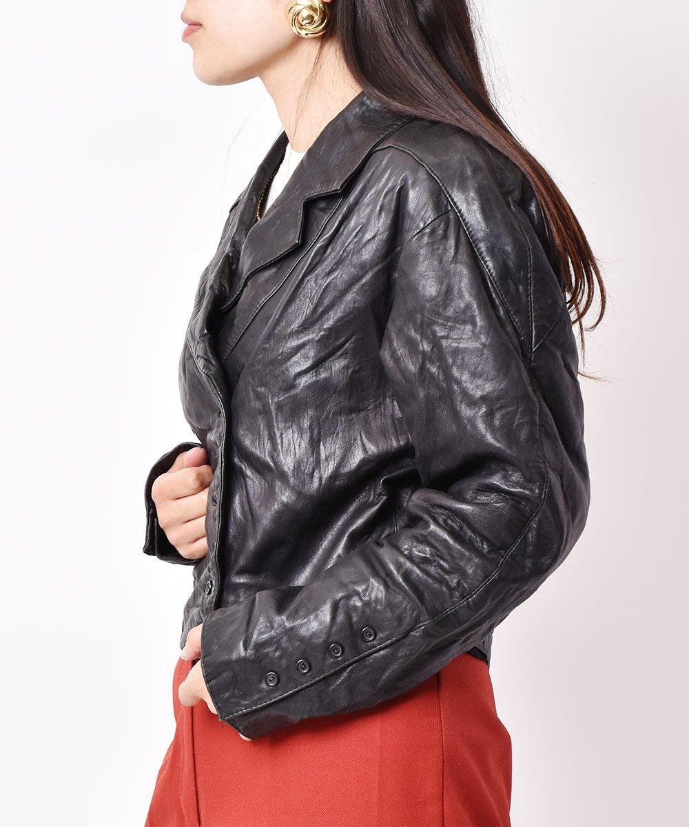 レザー ダブルショートジャケット ブラックサムネイル