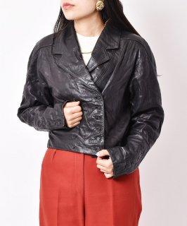 古着レザー ダブルショートジャケット ブラック 古着のネット通販 古着屋グレープフルーツムーン