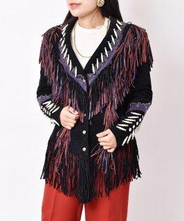 古着スウェード フリンジデザイン ジャケット ブラック 古着のネット通販 古着屋グレープフルーツムーン