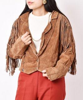 古着スウェード フリンジ  ショート ジャケット キャメル 古着のネット通販 古着屋グレープフルーツムーン