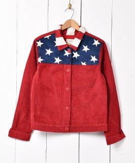 古着アメリカ製 星条旗柄 切り替えデザイン ジャケット ブルー×ホワイト×レッド  古着のネット通販 古着屋グレープフルーツムーン