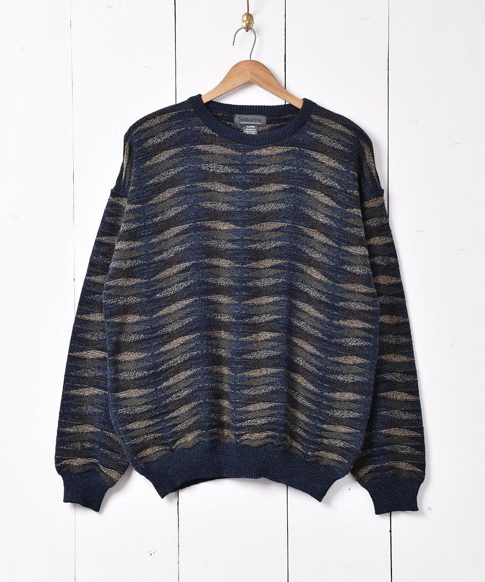 古着 立体編み ニットセーター ネイビー 古着 ネット 通販 古着屋グレープフルーツムーン