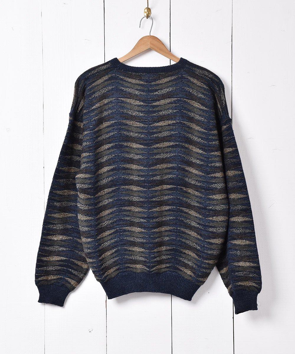 立体編み ニットセーター ネイビーサムネイル