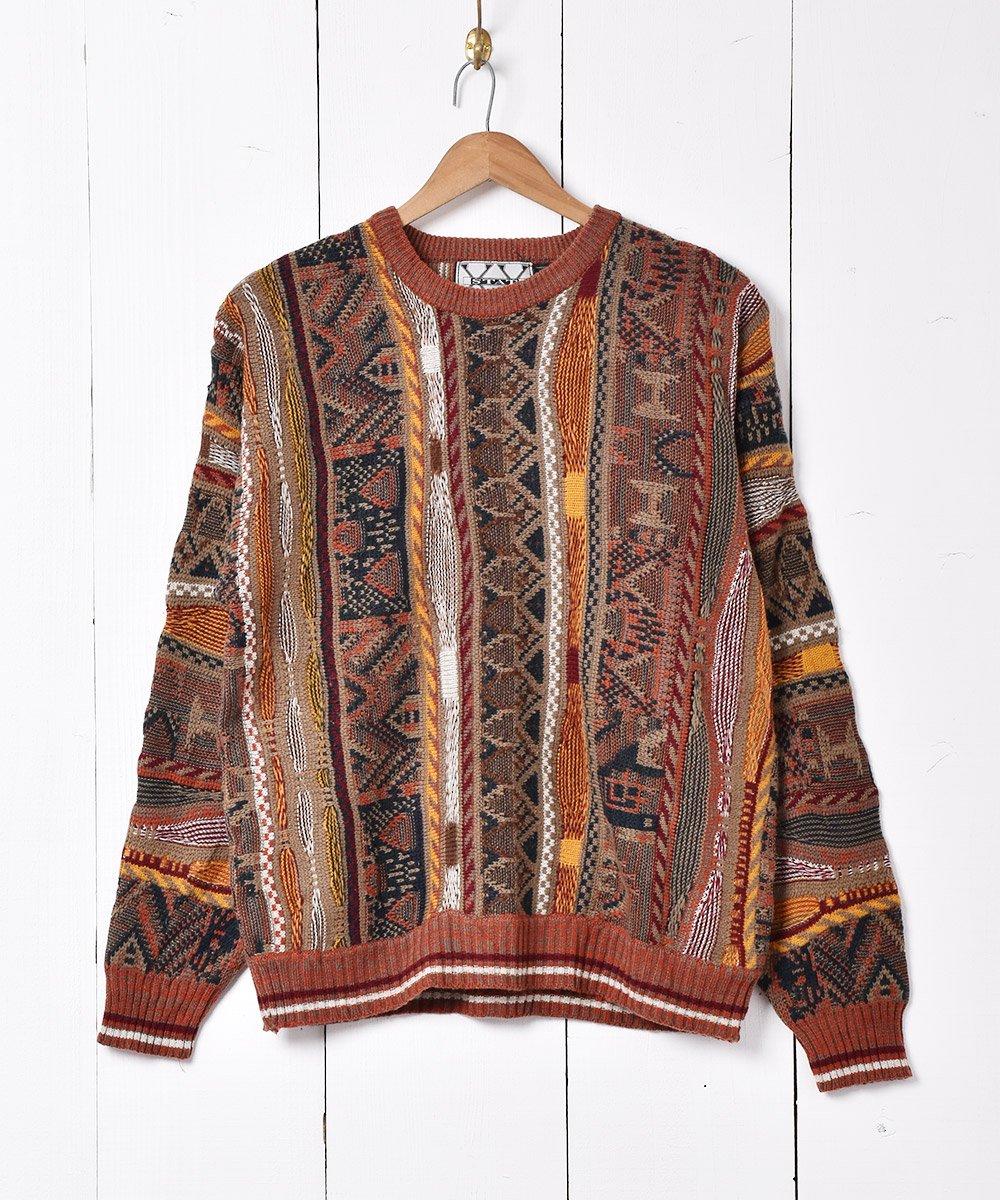 古着 立体編みニットセーター オレンジ 古着 ネット 通販 古着屋グレープフルーツムーン