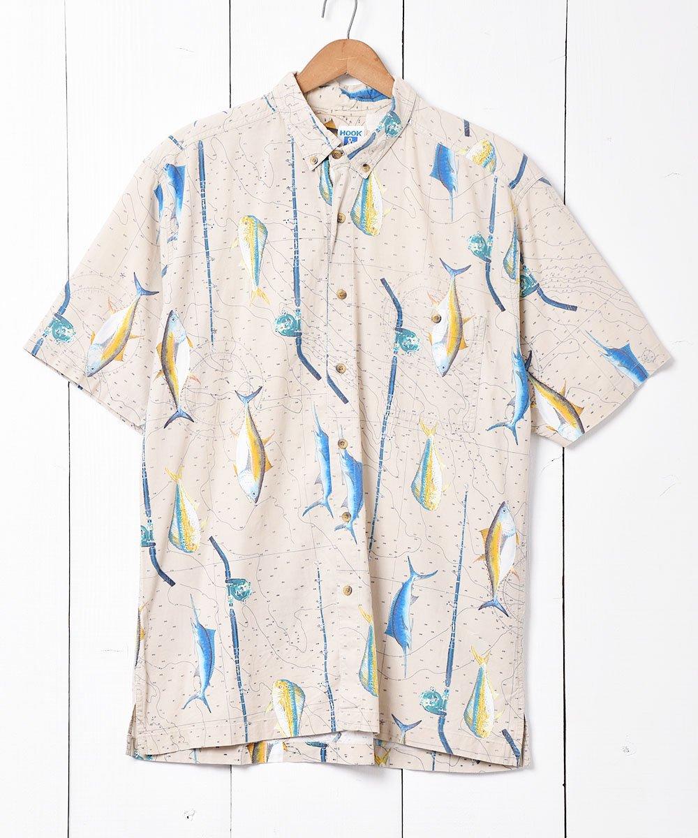 古着 フィッシングプリント ボタンダウンシャツ 古着 ネット 通販 古着屋グレープフルーツムーン