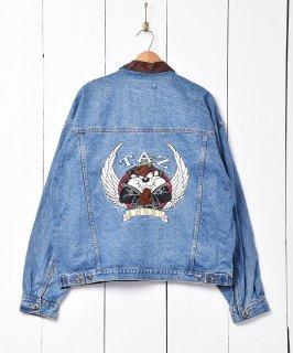 古着襟レザー タズマニアンデビル刺繍 デニムジャケット TAZ 古着のネット通販 古着屋グレープフルーツムーン
