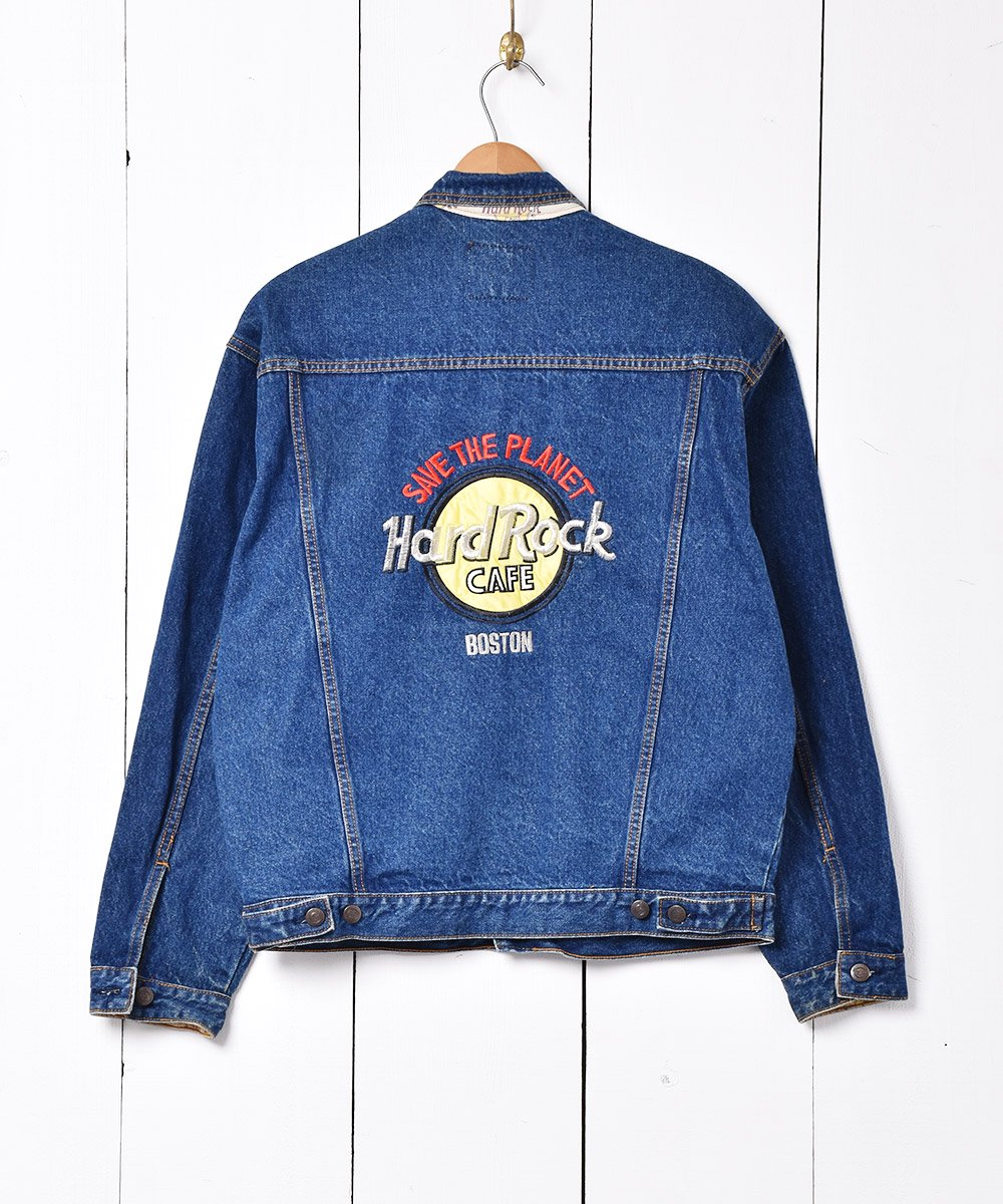 古着 Hard Rock CAFE ボストン 刺繍 デニムジャケット 古着 ネット 通販 古着屋グレープフルーツムーン