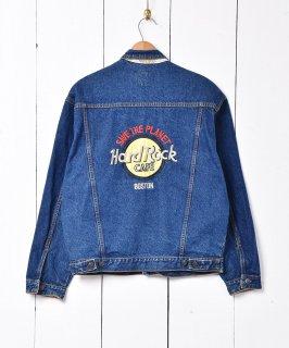 古着Hard Rock CAFE ボストン 刺繍 デニムジャケット 古着のネット通販 古着屋グレープフルーツムーン
