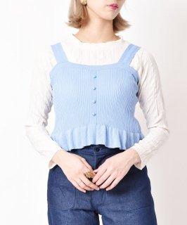 古着【3色展開】「Meridian」フリルリブキャミソール サックスブルー 古着のネット通販 古着屋グレープフルーツムーン