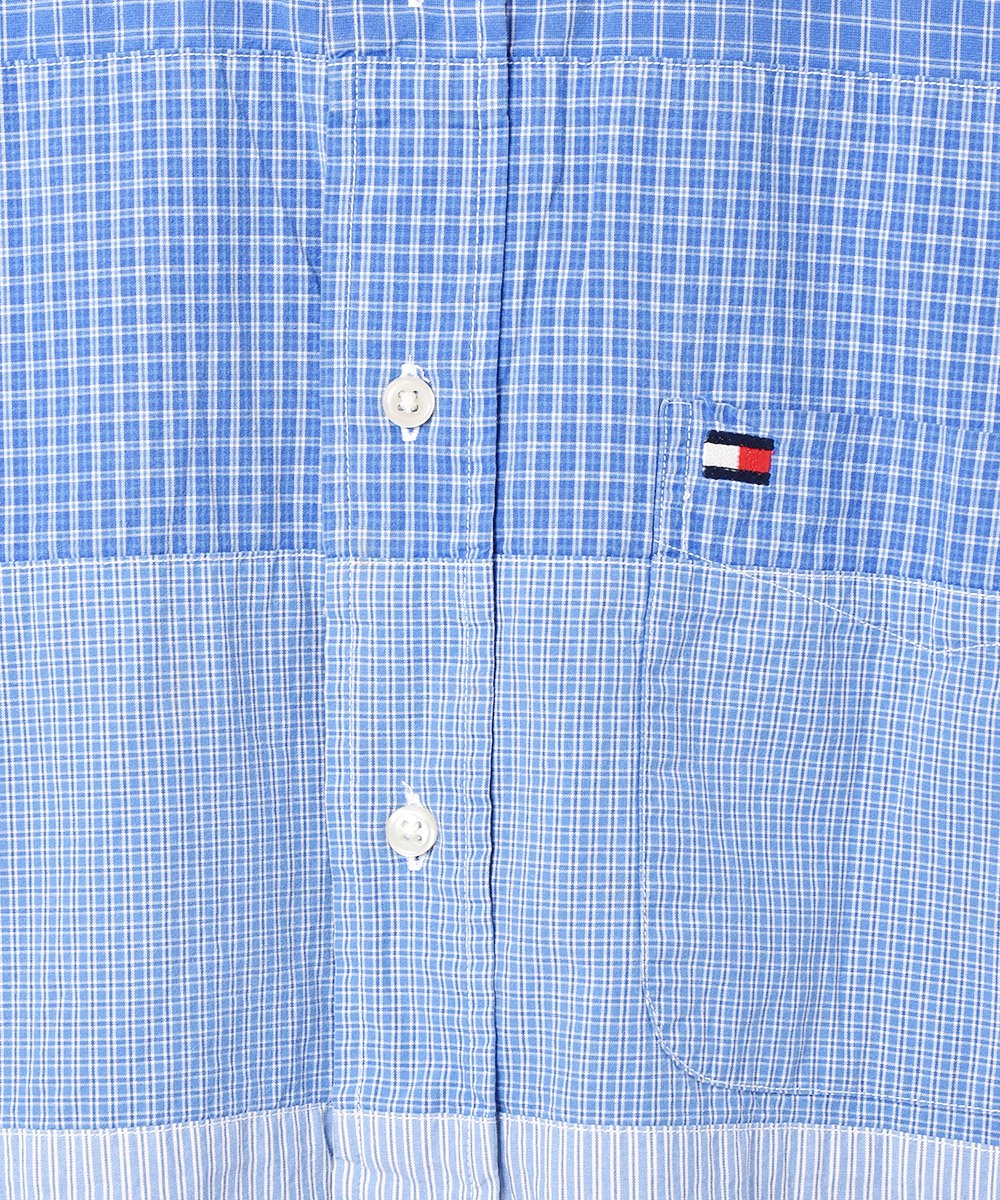 「TOMMY HILFIGER」 チェック×ストライプ 切り替え ボタンダウンシャツサムネイル
