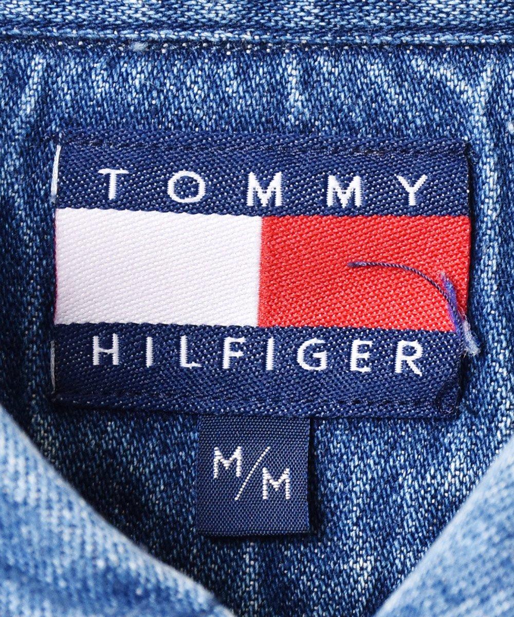 「TOMMY HILFIGER」 バッファローチェック×デニム切り替え ボタンダウンシャツサムネイル