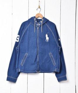 古着「Ralph Lauren」ビッグポニーロゴ  フードジャケット ネイビー  古着のネット通販 古着屋グレープフルーツムーン