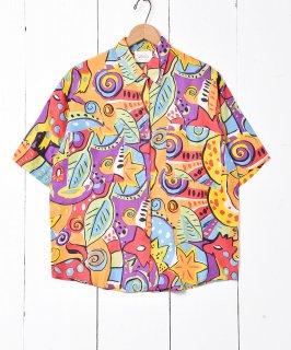 古着マルチパターン 総柄シルクシャツ 古着のネット通販 古着屋グレープフルーツムーン