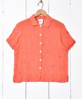 古着花柄  ショートスリーブシャツ 刺繍 古着のネット通販 古着屋グレープフルーツムーン