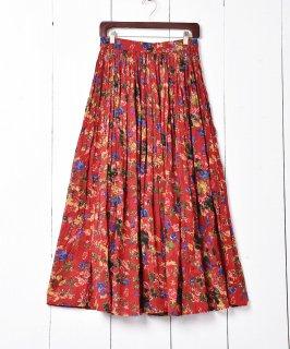 古着インド製 花柄ロング丈スカート 古着のネット通販 古着屋グレープフルーツムーン