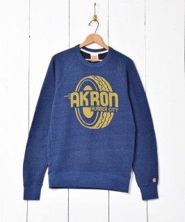 古着アメリカ製 AKRON プリントスウェット 古着のネット通販 古着屋グレープフルーツムーン