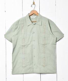 古着【3色展開】「Backers」キューバシャツ 半袖シャツ グリーン 古着のネット通販 古着屋グレープフルーツムーン