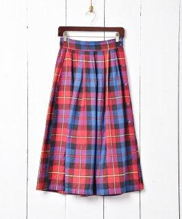 古着インド製 チェック柄 サイドボタンスカート 古着のネット通販 古着屋グレープフルーツムーン
