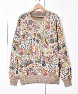 古着イタリア製 「MISSONI 」総柄コットンセーター 古着のネット通販 古着屋グレープフルーツムーン