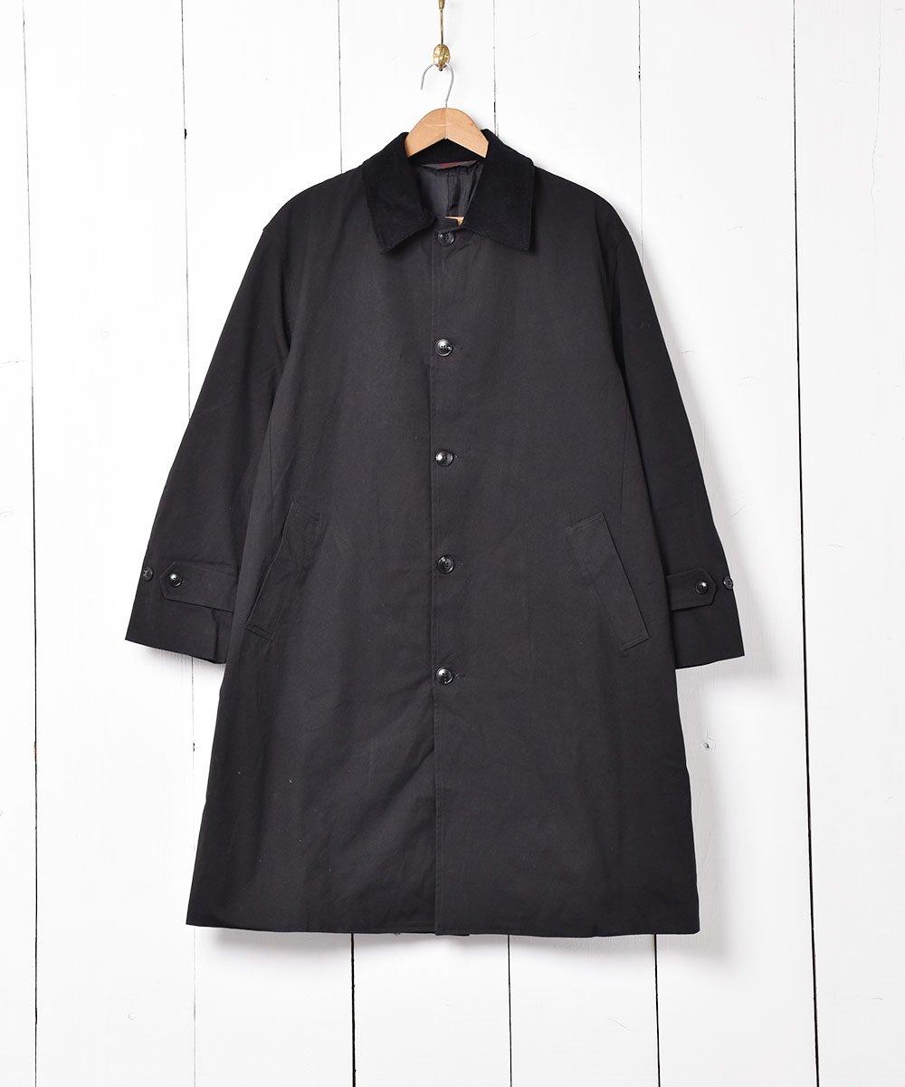 古着 【2色展開】「Backers」コーディロイ襟  ステンカラーコート  ブラック 古着 ネット 通販 古着屋グレープフルーツムーン