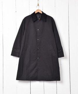 古着【2色展開】「Backers」コーディロイ襟  ステンカラーコート  ブラック 古着のネット通販 古着屋グレープフルーツムーン