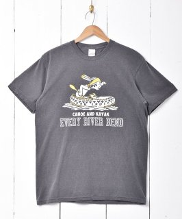 古着【2色展開】「BACKERS」カヌープリントTシャツ チャコールグレー 古着のネット通販 古着屋グレープフルーツムーン