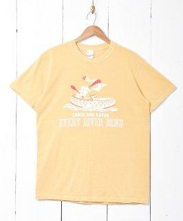 古着【2色展開】「BACKERS」カヌープリントTシャツ マスタード 古着のネット通販 古着屋グレープフルーツムーン