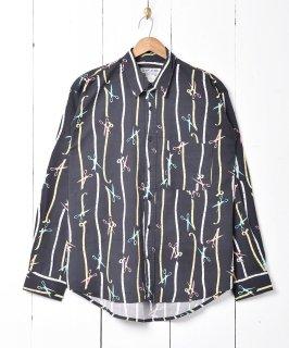 古着「TEMPTATION」シザープリント総柄 長袖シャツ 古着のネット通販 古着屋グレープフルーツムーン