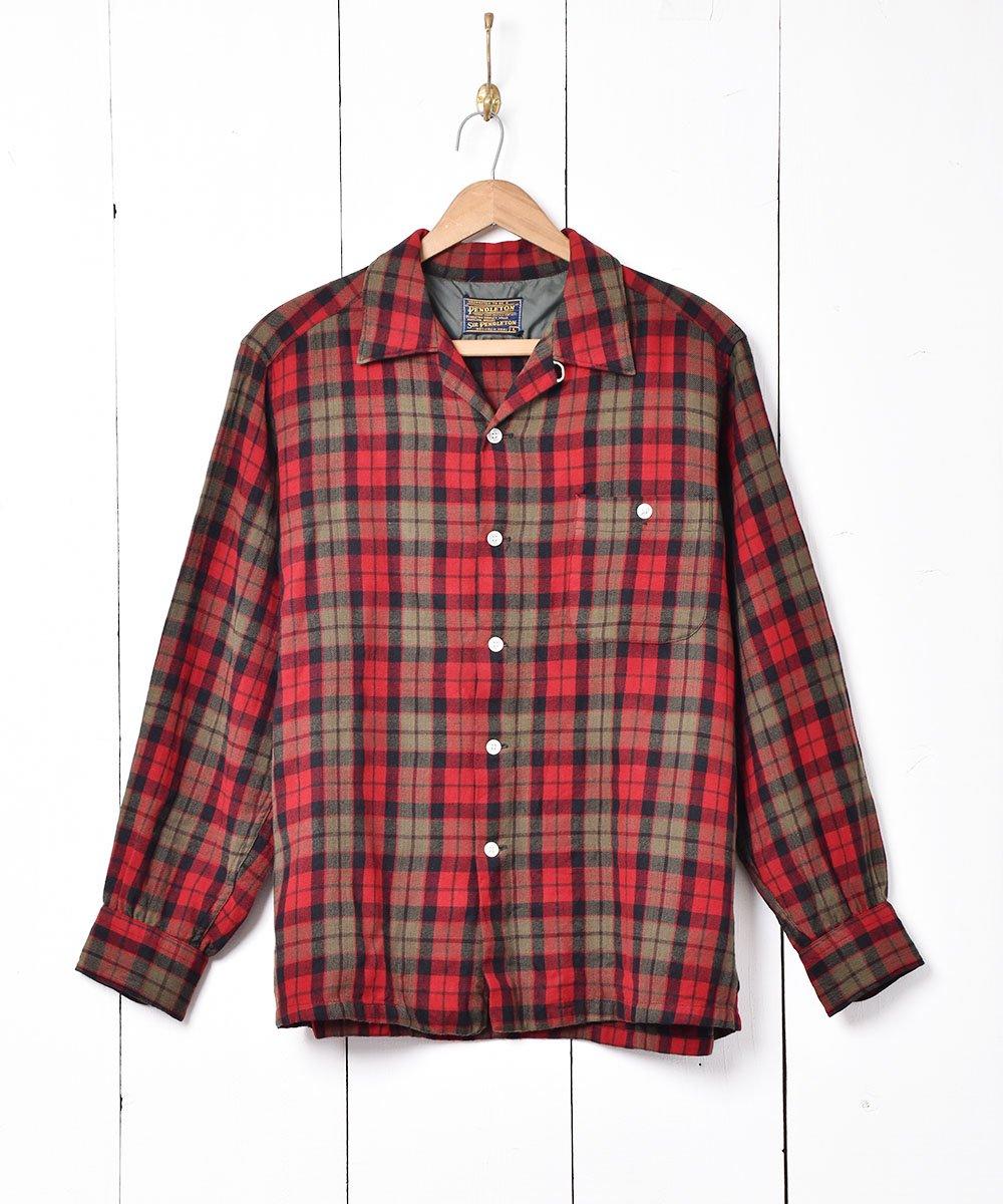 古着 60's 「PENDLETON」チェック柄 オープンカラー 長袖シャツ 古着 ネット 通販 古着屋グレープフルーツムーン