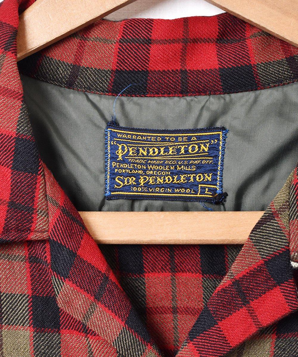 60's 「PENDLETON」チェック柄 オープンカラー 長袖シャツサムネイル