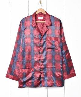 古着チェック柄 サテンパジャマシャツ 古着のネット通販 古着屋グレープフルーツムーン