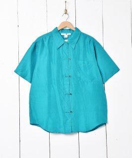古着ボタンデザイン 半袖 シルクシャツ 古着のネット通販 古着屋グレープフルーツムーン