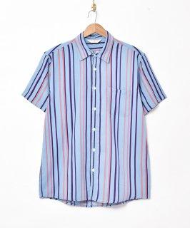 古着【2色展開】「TEMPTATION」ストライプ柄 半袖シャツ ブルー 古着のネット通販 古着屋グレープフルーツムーン
