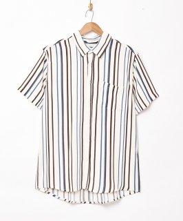 古着【2色展開】「TEMPTATION」ストライプ柄 半袖シャツ ホワイト 古着のネット通販 古着屋グレープフルーツムーン