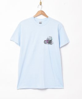 古着【2色展開】モーターサイクル プリントTシャツ サックスブルー 古着のネット通販 古着屋グレープフルーツムーン