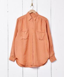 古着長袖シルクシャツ オレンジ 古着のネット通販 古着屋グレープフルーツムーン
