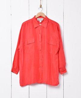 古着長袖シルクシャツ レッド 古着のネット通販 古着屋グレープフルーツムーン