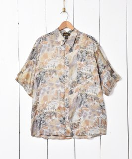 古着総柄スモーキーカラー半袖シルクシャツ 古着のネット通販 古着屋グレープフルーツムーン