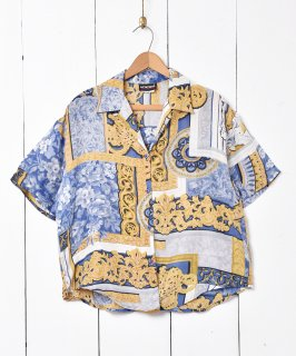 古着総柄 オ—プンカラーシルクシャツ 古着のネット通販 古着屋グレープフルーツムーン