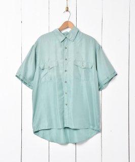 古着半袖シルクシャツ グリーン 古着のネット通販 古着屋グレープフルーツムーン
