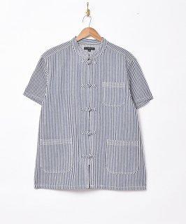 古着「TEMPTATION」 ストライプ柄 チャイナ 半袖シャツ 古着のネット通販 古着屋グレープフルーツムーン