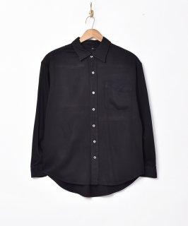 古着【2色展開】 レーヨン シンプル 長袖シャツ ブラック 古着のネット通販 古着屋グレープフルーツムーン